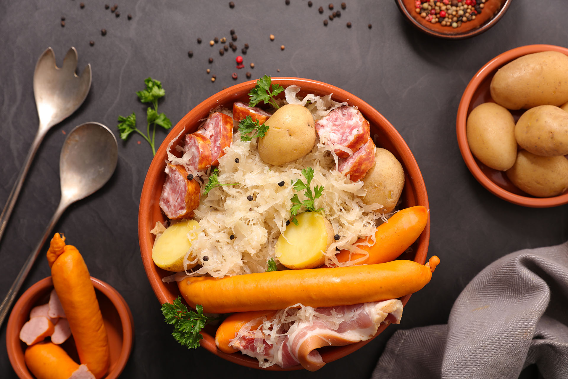 sauerkraut with potato and sausage